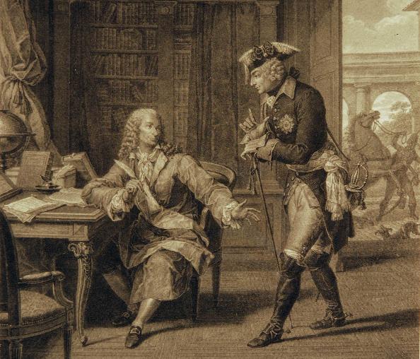 Kupferstich: Friedrich der Große und Voltaire