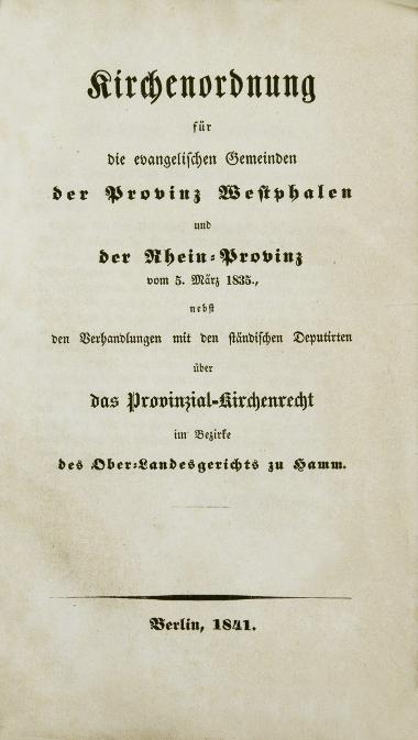 Druck: Rheinisch-Westfälische Evangelische Kirchenordnung 1835