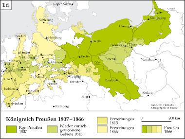 Karte: Entwicklung Königreich Preußen 1807-1866