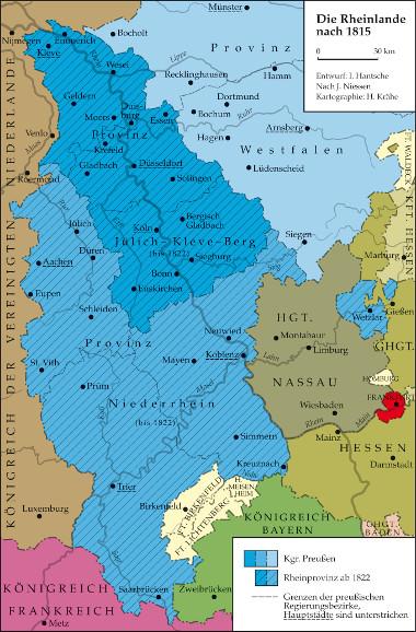 Karte: Die Rheinlande nach 1815
