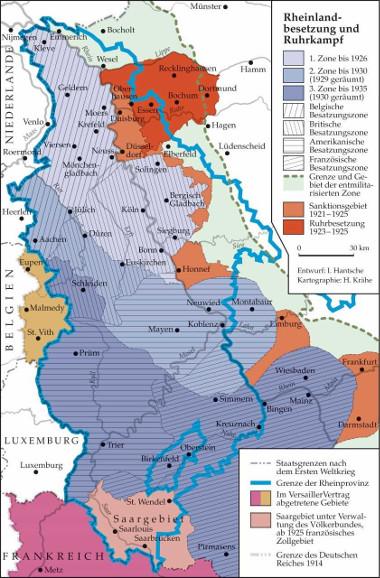 Karte: Rheinlandbesetzung und Ruhrkampf